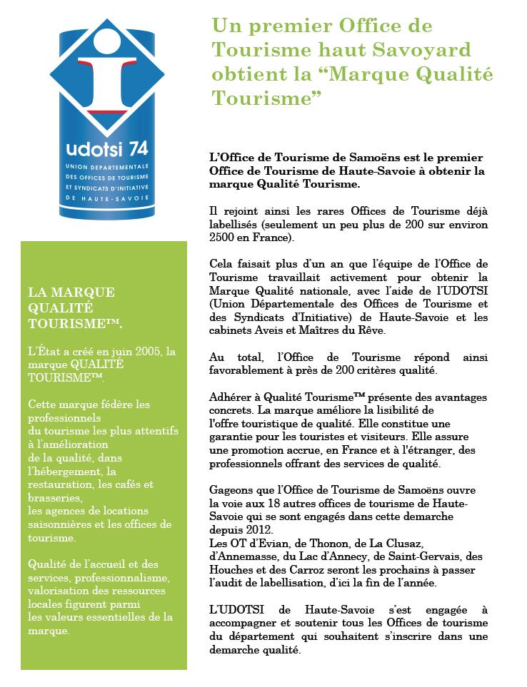 """Maître du Rêve accompagne des Offices de Tourisme de Haute Savoie dans leur mutation vers la Marque """"Qualité Tourisme"""""""