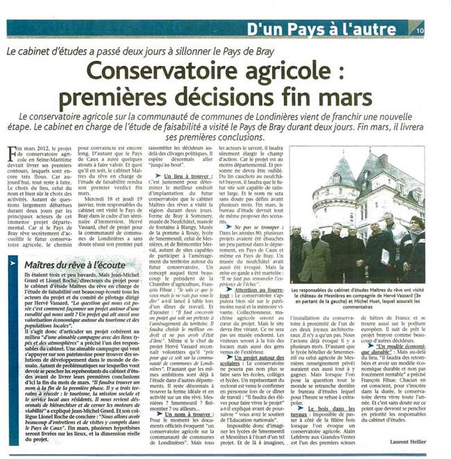 """Article du journal """"Le Réveil"""" du 21 01 2012"""